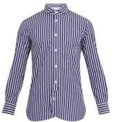 Junya Watanabe Contrast-print Single-cuff Striped Cotton Shirt