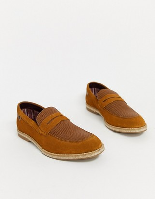 Base London combie embossed loafers in tan suede