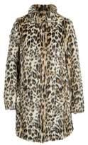 Dorothy Perkins Leopard Print Faux Fur Funnel Coat