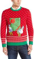 Blizzard Bay Men's Working Elves Ugly Christmas Sweater with Beer Pocket