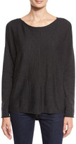 Eileen Fisher Merino Boxy Bateau-Neck Sweater, Charcoal, Petite