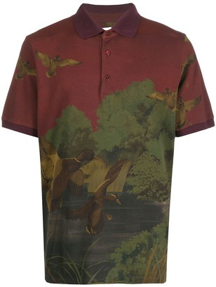 Etro Botanical-Print Short-Sleeved Polo Shirt
