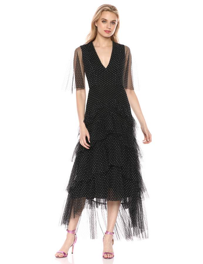 BCBGMAXAZRIA Azria Women's Flocked Dot Tiered Maxi Dress