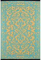 Wildon Home Lightweight Reversible Gala Saffron/Blue Turquoise Indoor/Outdoor Area Rug Rug Size: 3' x 5'