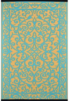 Wildon Home Lightweight Reversible Gala Saffron/Blue Turquoise Indoor/Outdoor Area Rug Rug Size: 3' x 5'