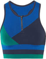 LNDR - Wild Cat Paneled Stretch-jersey Sports Bra - Midnight blue