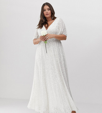 Asos Edition EDITION Curve flutter sleeve sequin maxi wedding dress-White