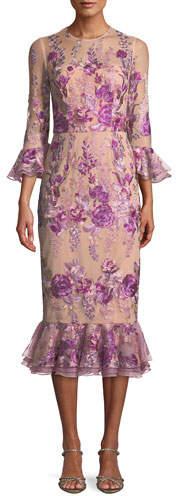 David Meister Floral Embroidered Trumpet-Sleeve Dress w/ Flounce Hem