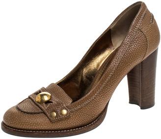 Dolce & Gabbana Brown Leather Embellished Loafer Pumps Size 38