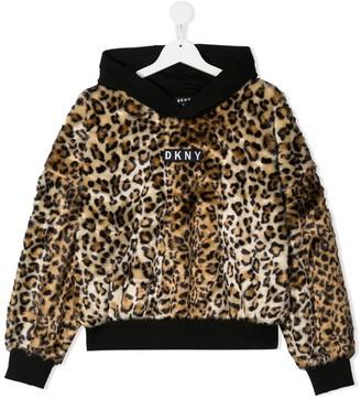 DKNY TEEN leopard-print logo-patch hoodie