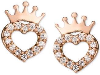 Disney Children Cubic Zirconia Heart & Crown Stud Earrings in 14k Rose Gold