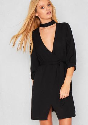 Ever New Abella Black Choker V Plunge With Tie Waist Crepe Dress