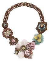 Miriam Haskell White Pearl & Crystal Floral Necklace