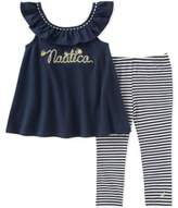 Nautica 2-Piece Logo Top and Stretch Stripe Legging Set