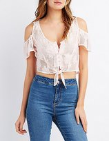 Charlotte Russe Lace Cold Shoulder Crop Top
