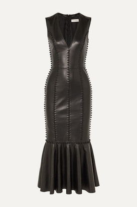 Alexander McQueen Knot-detailed Leather Midi Dress - Black