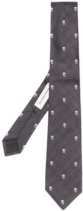 Alexander McQueen Checked Skull Jacquard Tie