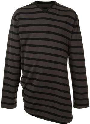 Julius striped asymmetric hem T-shirt