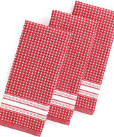 Martha Stewart Collection Kitchen Towels, Set of 3 Waffle Weave Red