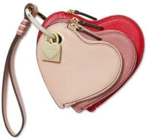 Michael Kors Michael Leather Heart Pouch Trio Charm