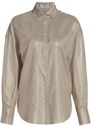 Brunello Cucinelli Shiny Silk Stripe Blouse