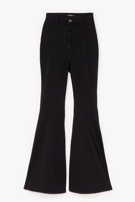 Nasty Gal Womens Super Trouper High-Waisted Flare Jeans - Black - 10
