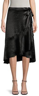 Ava & Aiden Satin High-Low Ruffle Wrap Skirt