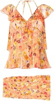 2004 Silk Floral Skirt Set