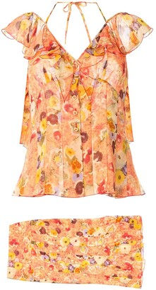 Chanel Pre Owned 2004 Silk Floral Skirt Set
