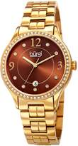 Burgi Women's Quartz Swarovski Crystal Accented and Gold-Tone Bracelet Watch - BUR180YGBR