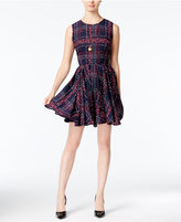 Maison Jules Floral-Plaid Fit & Flare Dress, Only at Macy's
