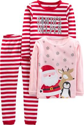 Simple Joys by Carter's 3-piece Snug-fit Cotton Christmas Pajama Set Red Stripe/Santa 3T