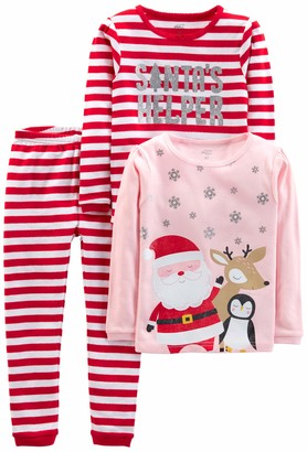 Simple Joys by Carter's Girls' 3-Piece Snug-Fit Cotton Christmas Pajama Set
