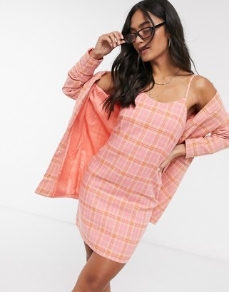 Heartbreak scoop neck tailored cami dress in pink and coral check