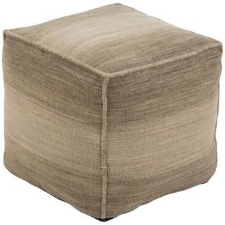 Surya Chaz Cube Pouf, Neutral, Brown