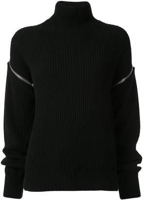 MSGM zipped sleeve rollneck jumper