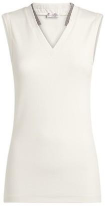 Brunello Cucinelli Stretch-Cotton Sleeveless Top