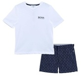 BOSS White and Navy Branded Cotton Pyjama Set in Gift Box