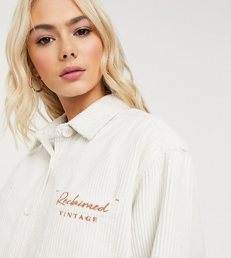 Reclaimed Vintage inspired oversized shirt in ecru cord with logo embroidery