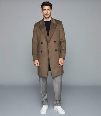 Reiss Milton - Wool Blend Double Breasted Coat in Camel