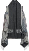 Etro Printed Fringed Wool-felt Poncho - Gray