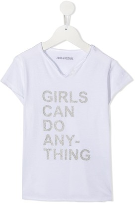 Zadig & Voltaire Kids Girls Can Do Anything henley t-shirt