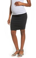 Angel Maternity Over the Belly Ruched Maternity Skirt