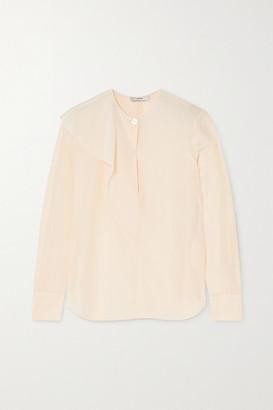 Vince Asymmetric Draped Silk-crepe Blouse - White