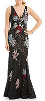 Betsy & Adam Deep V-Neck Embroidered Lace Gown