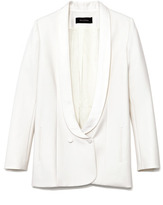 Wes Gordon Preorder Ivory Stretch Cotton Silk Tuxedo Jacket