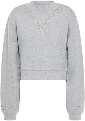 Current/Elliott The Message Cropped Studded French Cotton-terry Sweatshirt