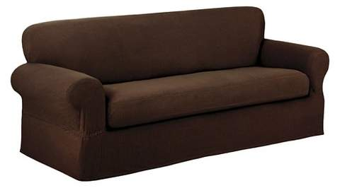 Maytex Chocolate Stretch Reeves Sofa Slipcover (2 Piece)