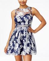 B. Darlin Juniors' Printed Rhinestone Fit & Flare Dress