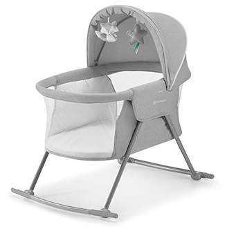 Kurt Geiger Kinderkraft Baby Crib 3 in 1 LOVI, Cradle, Travel Cot, Rocker, Easy Folding and Unfolding, Adjustable Canopy, with Accessories, Mattress Cover, Included Toys, Transport Bag, for Newborn, 0-9 kg, Gray